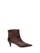 Ash Pythn Printed Leather Booties - Marrone