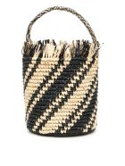 Sensi Studio Striped Wicker Bag - NATURAL BLACK (Beige)