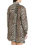 Ganni Cedar Leopard Printed Shirt - Marrone
