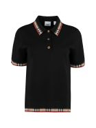 Burberry Knitted Wool Polo Shirt - black