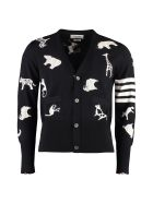 Thom Browne Intarsia Wool Cardigan - blue