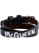 Alexander McQueen Leather Bracelet With Metal Logo Pendant And Skull - black