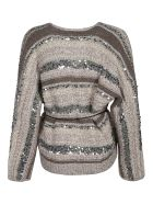 Brunello Cucinelli Tie-waist Embellished Cardigan - Beige