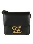 Fendi Karligraphy Shoulder Bag - Black