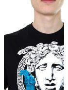 Versace Black Cotton T-shirt With Medusa Print - Black