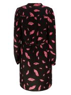 Diane Von Furstenberg Falling Lips Print Dress - Black
