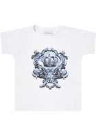 Dolce & Gabbana White T-shirt For Babykids With Crown - WHITE/BLUE