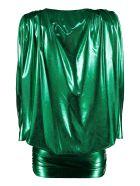 The Attico Lamé Jersey Mini Dress - green