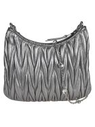 Miu Miu Matelassé Crystal Embellished Shoulder Bag - Cromo
