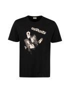 Saint Laurent Printed Cotton T-shirt - black