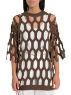 Sonia Rykiel Cut Out Knitted Top - Brown