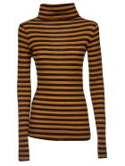 Alysi Striped Detail Sweater - Brown/Black