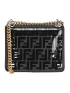 Fendi Kan I Small Ff Glass Pvc Shoulder Bag - Black