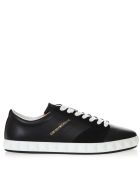 Emporio Armani Navy Blue Sneakers In Smooth And Sueded Leather - Blue navy