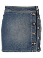 Givenchy Buttons Mini Denim Skirt - DARK BLUE