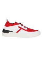 Tod's Multicolor Leather And Textile Sneakers - White red