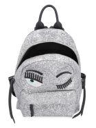 Chiara Ferragni Flirting Eyes Glitter Backpack - Silver
