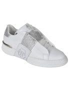 Philipp Plein Phantom Kicks Lo-top Crystal Sneakers - White