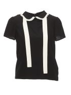 RED Valentino Crepe De Chine Top Shirt - Black