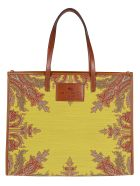 Etro Brown And Yello Leather And Canvas Tote Bag - BROWN YELLOW
