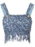 Balmain Fringed Tweed Top - Fant blu