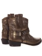 Coral Blue Bronze Fabric Vintage Texan Ankle Boots - Bronze