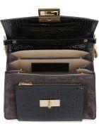 Givenchy Small Gv3 Crocodile Print Leather Handbag - black