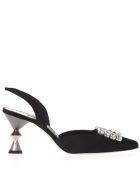 Manolo Blahnik Black Satin Pumps With Crystals & Sculptural Heel - Black