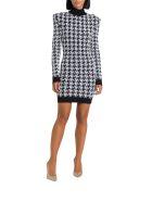 Balmain Houndstooth Tweed Crochet Dress - Bianco/nero