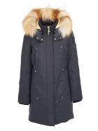 Moose Knuckles Grand Metis Parka Coat - Navy/red
