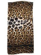 Saint Laurent Cashmere-blend Silk Leoprad Printed Scarf - Beige/black