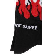 Vision of Super Black Socks Red Flames - Black