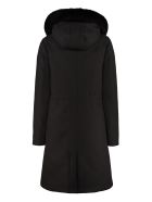 Woolrich Padded Parka With Fur Hood - black