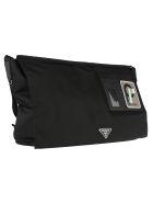 Prada Prada Logo Patch Shoulder Bag - BLACK ANTHRACITE