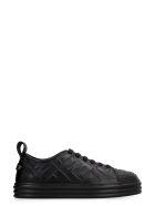 Fendi Rise Leather Platform Sneakers - black