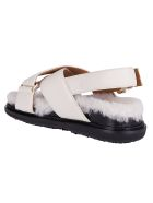 Marni White Leather Fussbett Sandals - White