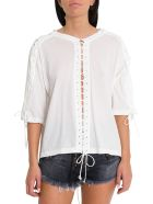 Ben Taverniti Unravel Project Lace-up Tee - Bianco