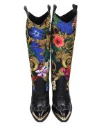 Versace Jeans Couture Texan Boots In Black Leather And Fabric - black