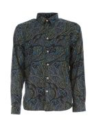 Paul Smith Tailored Fit L/s Shirt W/leaves - Blu