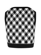 Balmain Cropped Zipped Gingham Jacquard Top - Eab Noir Blanc