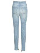Balmain High Waist 8 Buttons Jeans - BLUE WHITE