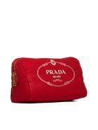 Prada Logo Print Clutch - Rosso