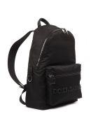 Dolce & Gabbana D&g Black Leather & Fabric Logo Backpack - Black