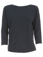 Nuur Viscose Sweater 3/4s Boat Neck - Navy