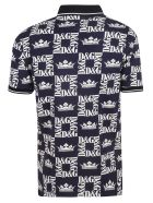 Dolce & Gabbana Logo Print Polo Shirt - Blue