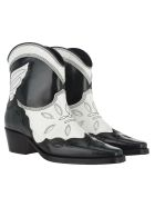Ganni Low Texas Ankle Boots - EGRET