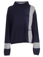 Suzusan Sweater Merino - Navy Blue Light Grey