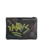 Balenciaga Graffiti Clutch - Black Multi