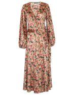 Rotate by Birger Christensen Beatrix Dress L/s Long V Neck - Whitecap Grey Aop