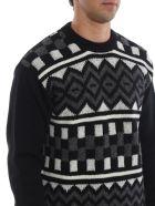 Prada Intarsia Sweater - Xcq Nero Ardesia Bianco